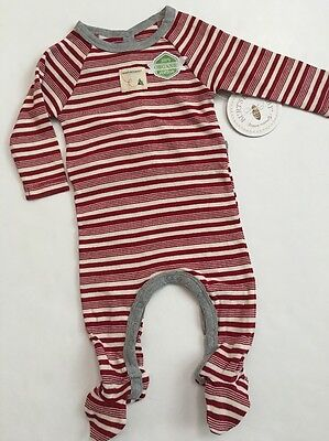 Burts Bees Baby Boy Girl Coveral Family Pajamas Size 3 6 Months Red Candy Cane