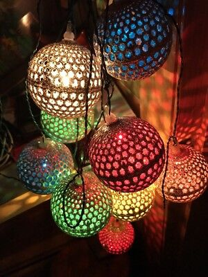 Vintage Silver Glittery Italian Christmas Lights Multi Color Bulbs Fantastic!