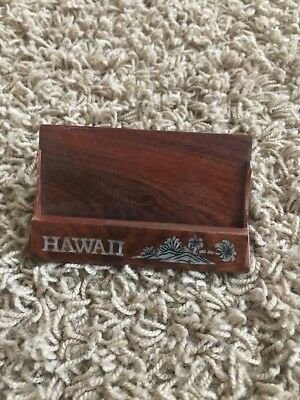 Hawaii Wood Shell Business Card Holder Stand