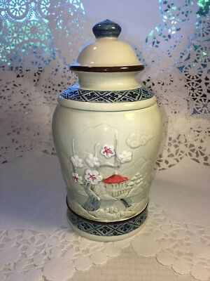 Japan Embossed Tea Or Treat Jar Pagoda Or Ginger Jar