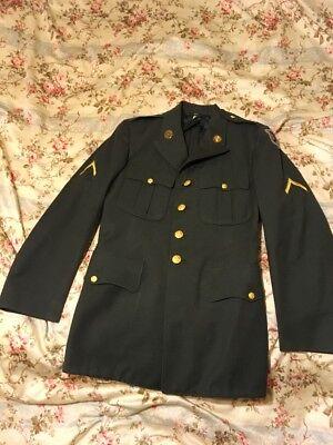 US Army Dress Uniform Jacket -38R- 5/27/58 Coat, Mens, Wool, Serge Army Green 44