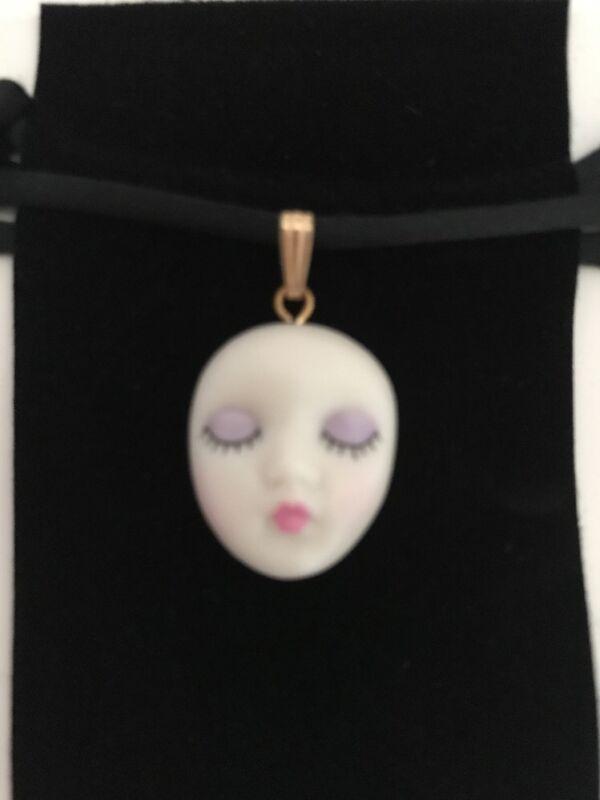 "Choker ""Blush"" Adagio Face Pendant Hand-Painted Porcelain Choker Silk Cord"
