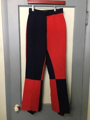 """Vtg 60s 70s Ladies Retro Colorful Ski Pants Womens 26""""x 29"""" Red Blue Rayon Blend](70s Wear For Women)"""