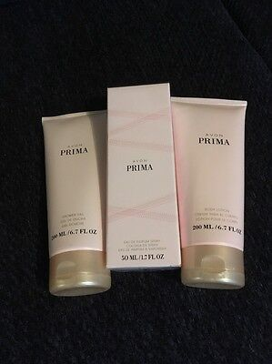 Avon Prima Perfume  Body Wash And Body Lotion New Product 3 Piece Set