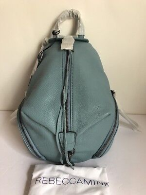 NWT!!Rebecca Minkoff Julian Medium Leather backpack In Grey Sky  MSRP$245(Sale)