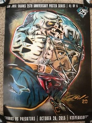 San Jose Sharks NHL 25th Anniversary Poster Series 1 of 6 (Evgeni Nabokov)