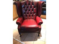 Chesterfield Queen Anne High Back Wing Chair Antique Oxblood Leather