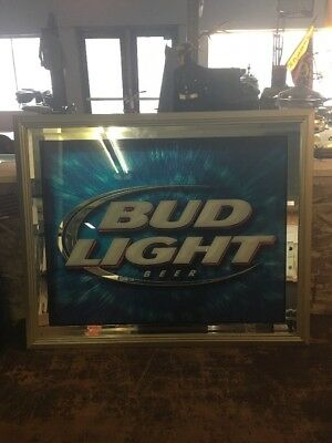 "Bud Light nice mettalic bar framed wall sign 26.5""x32.5"""