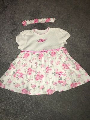 Little Me Lovely Dress With Body Underneath And Matching Headband Size 9 Months
