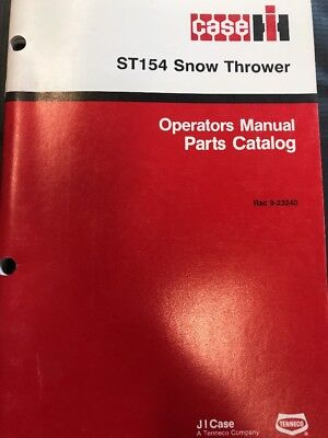 Case St154 Snow Thrower Operators Parts Manual 9-23340