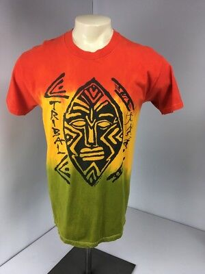 (VINTAGE 90s ISA Tribal TIE DYE GRAPHIC T SHIRT RASTA Reggae Single Stitch Sz L)