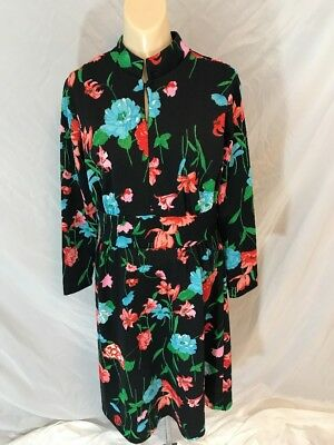 Vtg 1960s Aldens Fashions Chicago Dress Collar Hippie Floral Mod Polyester
