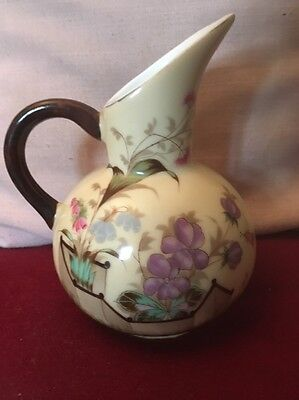 Beautiful Aesthetic Movement Porcelain Jug Highly Stylised Pastel Colour Flora