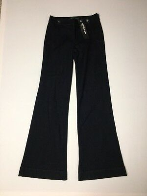 (Express Jeans Wide Leg Flare Womens Size 4 Reg Inseam 35 Mid Rise Side Zip NWT)