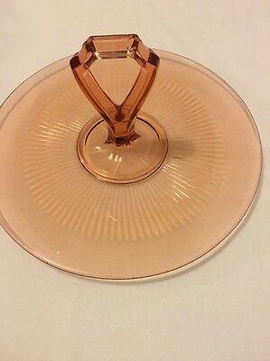 "Pink Depression Glass Tray Serving Dish Center Handle Vintage 10.50"" Diameter"
