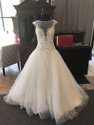 David Tutera NWT Ivory Lace Tulle Drop Waist Ball Gown Wedding Dress Size 10