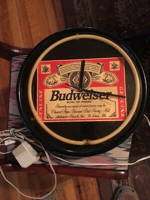 NEON BUDWEISER BEER LABEL BUD CLOCK 1980s MAN CAVE/BAR - WORKS