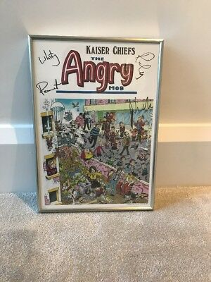 Signed Kaiser Chiefs 'The Angry Mob' Poster. Hand Signed By All Band Members