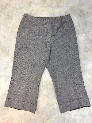 Ann Taylor Women's Brown/White Linen Blend Cropped Dress Pants Sz 4P