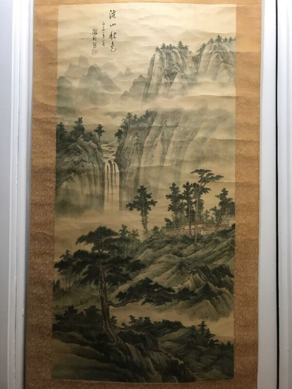 """Antique Japanese Hand Painted on Silk """"MOUNT SCENERY"""" Large Scroll Signed"""