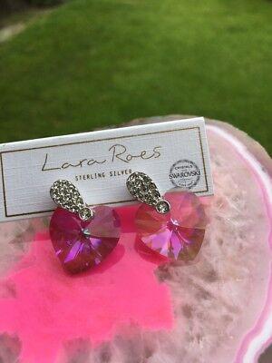 Lara Roes Sterling Silver Earrings Swarovski Crystals Retail $38