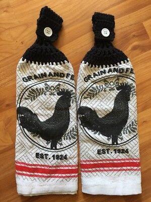 Rooster Chicken Double Towel Set Of 2 - Black Grey Red - Crochet Top