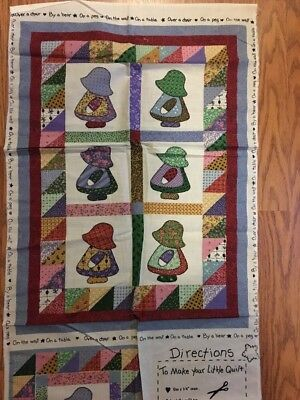 Fabric Material Sew Cut Panel SunBonnet Sue Baby Little Quilt & Pillow for sale  Lansing
