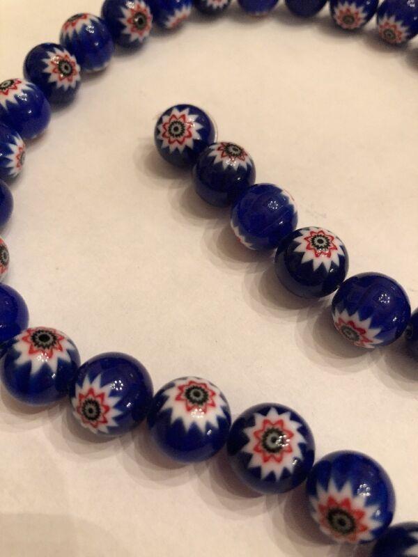"16"" Millefiori Chevron Glass 11mm Round Cobalt Blue, Red,White Loose Bead Strand"