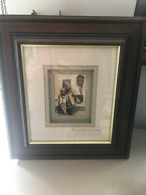 ELIZABETH CAUSTON Signed Decoupage Hand Made Picture Children with Cuckoo Clock