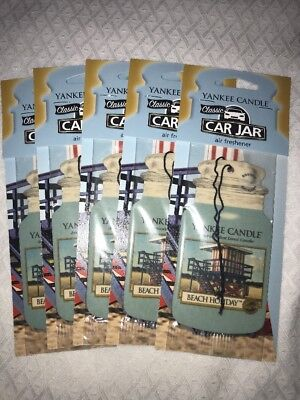 YANKEE CANDLE BEACH HOLIDAY CAR JAR AIR FRESHENER~SET OF 3 - FREE SHIP
