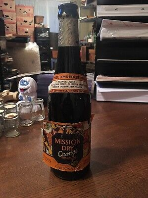 (1929 12 oz Black Amber Glass Amber Mission Dry Orange Paper Label Bottle)