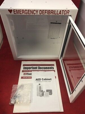 Aed Emergency Medical Defib Cabinet Steel Wall Mount White 13.5x13x7 See Desc.