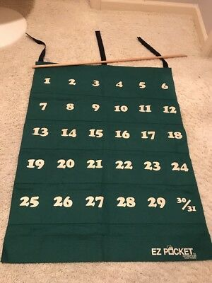 Vtg 1980s EZ Pocket Green Canvas Wall Calendar