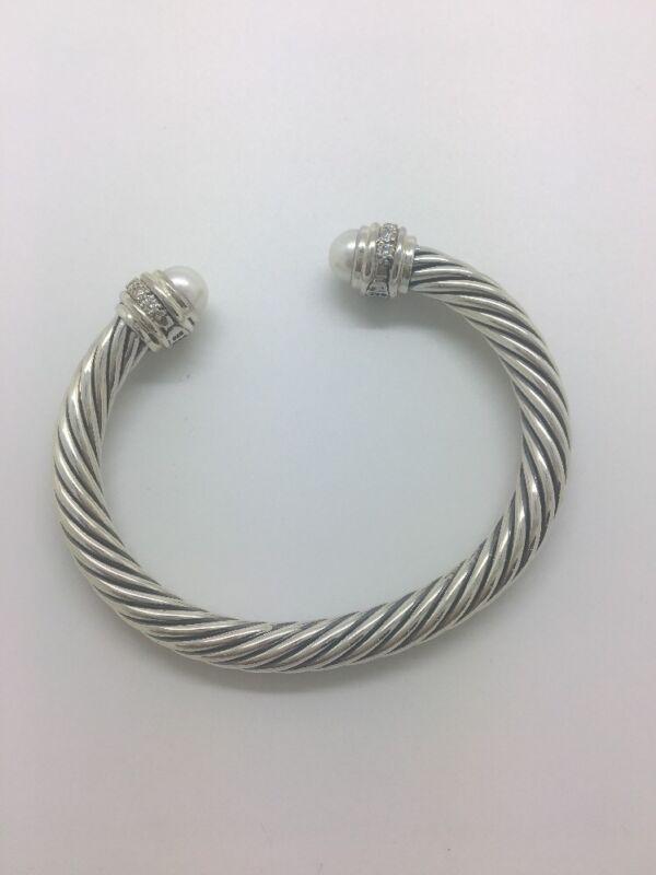David Yurman Classic Bracelet With Pearls And Diamonds 7mm