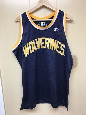 a6a33e0c1 Men s Brand New STARTER Michigan Wolverines Jersey Size  L  6S720171  NAVY  GOLD