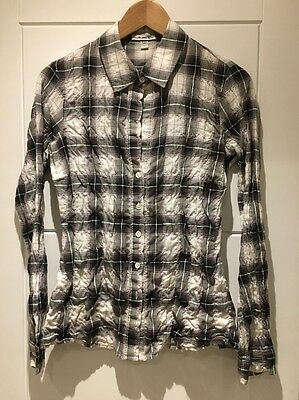 JAMES PERSE Stretch Cotton Plaid Button Down Collar Long Sleeve Shirt 1 S Small