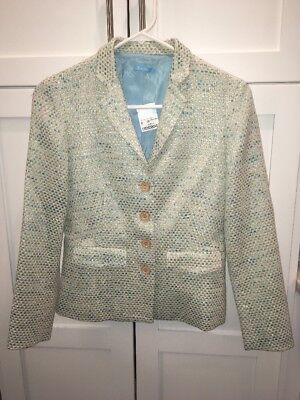 "J. Mclaughlin Light Blue & White Tweed ""Preston"" Jacket, Size 0, NWT"