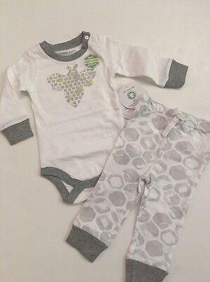 Burts Bees Baby Boy Organic Bodysuit Pants Set Size 3 6 Months Grey Layette LS