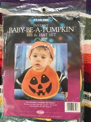 Instant Baby-Be-A-Pumpkin Halloween Costume Bib & Hat Set NIP Sealed Infant Baby](Baby Costume Halloween Pumpkin)