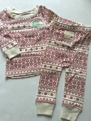 Burts Bees Baby Boy Girl Family 2 Piece Pajamas Size 3 6 9 12 Months Ivory Red