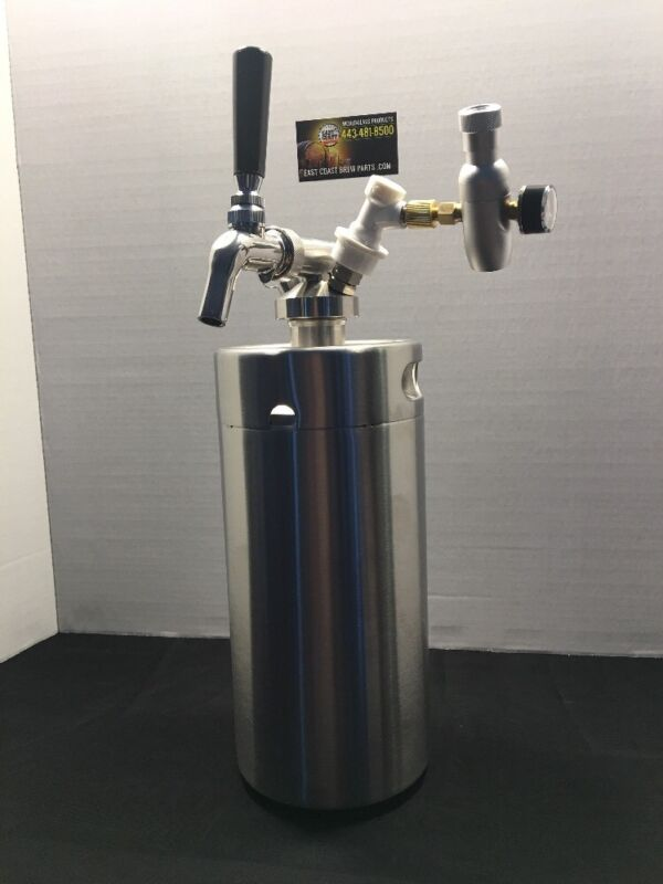 3.6L Mini Keg With Stainless Tap And 60 Psi Co2 Charger Any Man Can Have