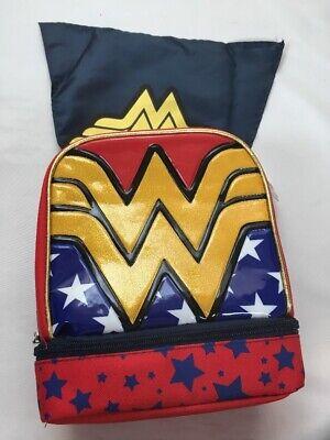 NEW Wonder Woman Lunch Box Bag Dual Lunch Kit Detachable Cape Glitter BPA Free - Wonder Woman Kit