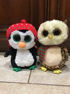 "**NEW**TY BEANIE BOOS**1 WISE OWL and 1 FREEZE PENGUIN*CHRISTMAS*MEDIUM-9""**"