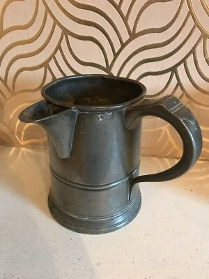 Fabulous Antique Pewter Quart Measure With Bucking Horse Touch Mark