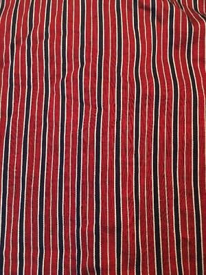 Vintage Striped Fabric Burgundy And Black