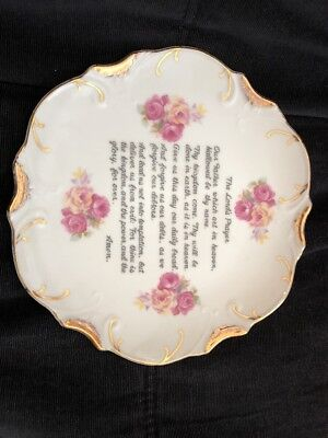 (Vintage THE LORD'S PRAYER Hanging Plate w Pink Roses & Gold Accents ~ 8