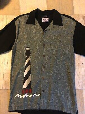 David Carey Light House Mens Short Sleeve Button Down Shirt Size Medium