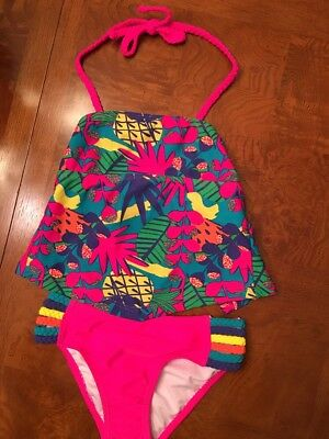 (NWT-Toddler Girls Wave Zone 2-Piece Tankini Swimsuit-Size XS 4/5)
