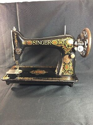 Singer Sewing Machine Antique Floral Treadle Red Eye Early 1900s Head Hand Crank