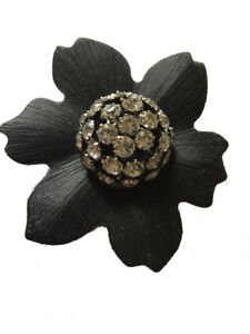 Alexis Bittar Handcrafted Black Lucite Flower with Rhinestone Domed Pin Brooch
